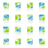 Bladeren. De vector reeks van het embleemmalplaatje.
