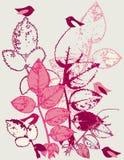 Bladeren en vogels stock illustratie