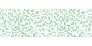 Bladeren en wervelingen textiel horizontale grens Stock Foto's