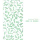 Bladeren en wervelingen textiel verticaal naadloos kader Stock Foto