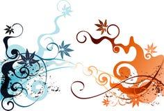 Bladeren en wijnstokkenkrullen Stock Illustratie