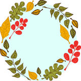 Bladeren op een ronde blauwe achtergrond Stock Illustratie