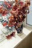 Bladeren op een venstervensterbank Stock Foto's