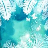 Bladeren op Groene Waterverfachtergrond Royalty-vrije Stock Fotografie