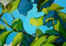 Bladeren tegen de blauwe hemel, het schilderen Royalty-vrije Stock Afbeeldingen