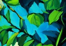 Bladeren tegen de blauwe hemel, het schilderen Stock Foto's