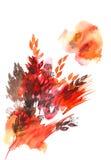 Bladeren van de waterverf de hand geschilderde abstracte herfst in rood en oranje Royalty-vrije Stock Afbeeldingen