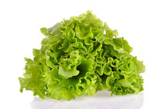 Bladeren van groene die salade op een witte achtergrond wordt geïsoleerd stock foto