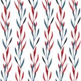 Bladeren van het waterverf de naadloze patroon Royalty-vrije Stock Afbeeldingen
