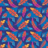 Bladeren van uitheemse gewassen - creatieve vectorillustratie Bloemen naadloos patroon De abstracte achtergrond van het Concept D vector illustratie