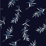 Bladerensilhouet op de marineblauwe achtergrond Royalty-vrije Stock Fotografie