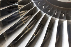 Blades in an airplane engine stock photography
