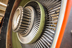 Blades in an airplane engine. Close up of blades in an airplane engine during maintenance Stock Image