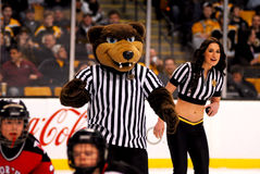 Blades -- Boston Bruins mascot. Blades and a Bruins Ice Girl over see a kids game between periods of a Boston Bruins hockey game Stock Images