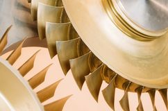 Blades on a disk for turbines made of various metal alloys. Blades on a disk for turbines made of various metal alloys stock photo