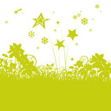 Blades of grass with asterisk and little stars Stock Image