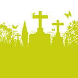 Blades of grass and cemetery. Green blades of grass and cemetery Stock Photography