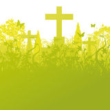 Blades of grass and grave stones. In a cemetery Royalty Free Stock Photography