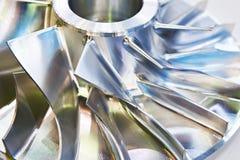 Blades of metal impeller. Pump stock image