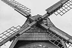 Blades of old working windmill in Araishi village near Cesis, Latvia Royalty Free Stock Photo
