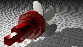 Red toothed pinion with mechanical joint is rotating with a white propeller, over a wireframed surface - 3D rendering video
