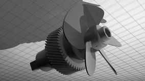 5 blades propeller with gear Royalty Free Stock Image