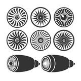Blades of turbines of the engine, airplane engine silhouettes mo Stock Photography