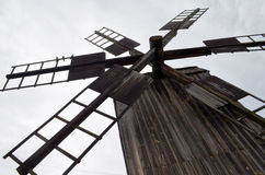 Blades of  wooden windmill against the sky Royalty Free Stock Images