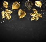 Bladguld på svart bakgrund royaltyfri illustrationer