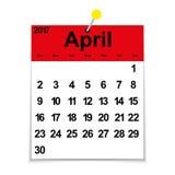 Bladkalender 2017 met de maand van April Stock Foto