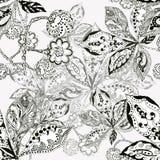 Bladkastanjen, konturn, färgpulver, pennan, monokrom, mönstrar sömlöst Arkivfoto
