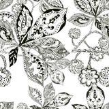 Bladkastanjen, konturn, färgpulver, pennan, monokrom, mönstrar sömlöst Royaltyfri Foto