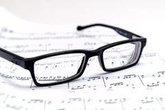 Bladmuziek en glazen Royalty-vrije Stock Afbeelding