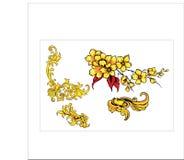 Bladsnirkeln för den blom- prydnaden inristade retro dekorativ design för blommamodell stock illustrationer