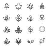 Bladvektorlinje symboler Royaltyfri Foto