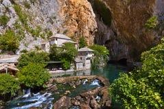 Blagaj dervish house - Bosnia and Herzegovina. Architecture travel background stock image