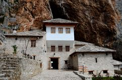 Blagaj Sufi Muslim dervish stone monastery structure Bosnia Herzegovina Stock Images