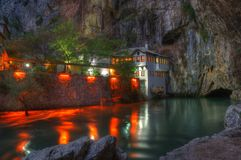 Dervish house, Blagaj, Bosnia and Herzegovina - night scene stock photo