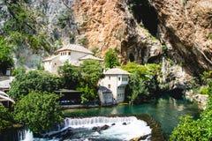 Blagaj-Wasserfälle Bosnien und Gerzogovina Stockfoto