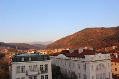 Blagoevgrad d'un haut tir de montagne de Rila de direction de Largo à l'automne de novembre d'est finalement image stock