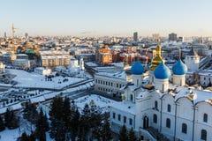 Blagoveshchenskiy domkyrka av den Kazan Kreml royaltyfria bilder