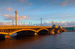 Blagoveshchensky  Bridge at St. Petersburg in morning Stock Photo