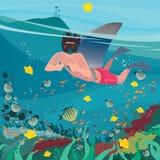 Blague ou polisson avec l'aileron de requin illustration stock