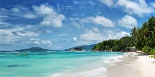 Blague tropical de La d'anse de beauch sur l'île Seychelles de praslin Photographie stock libre de droits