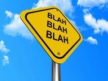 Blah Blah Blah signpost. Conceptual illustration of yellow blah, blah, blah signpost with blue sky and cloudscape background Stock Photos
