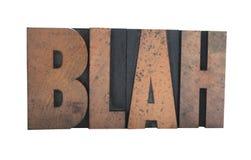 'blah' in old wood type Stock Photos
