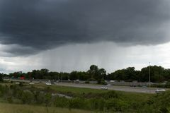 Quick shower. Blaine, MN/USA - May 29, 2017: A quick rain shower along 35W in Blaine, Minnesota Stock Image