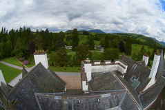 Blair castle. View over the roof of Blair Castle in Scotland Stock Image
