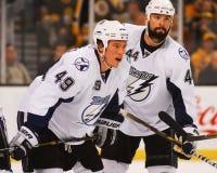 Blair Jones en Nate Thompson Tampa Bay Lightning Stock Afbeeldingen