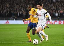 Blaise Matuidi and Heung-Min Son. Players pictured during the UEFA Champions League Round of 16 game between Tottenham Hotspur and Juventus Torino held on March Stock Photos